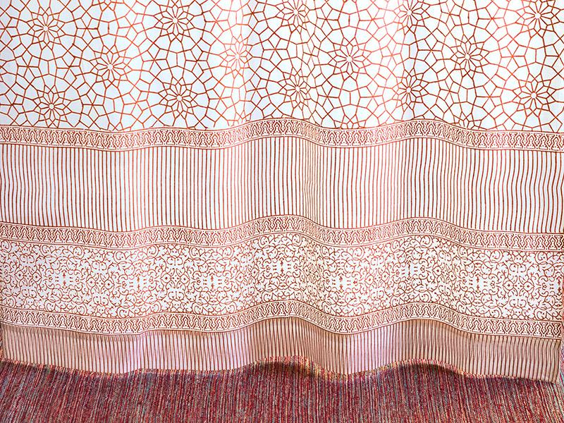 Coral Orange White curtains, Geometric curtains, Moroccan trellis ...