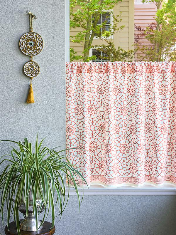 Coral Orange White Kitchen curtains, Geometric Moroccan trellis ...
