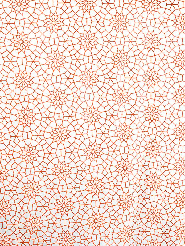 Royal Mansour C Moroccan Orange White Fabric Swatch