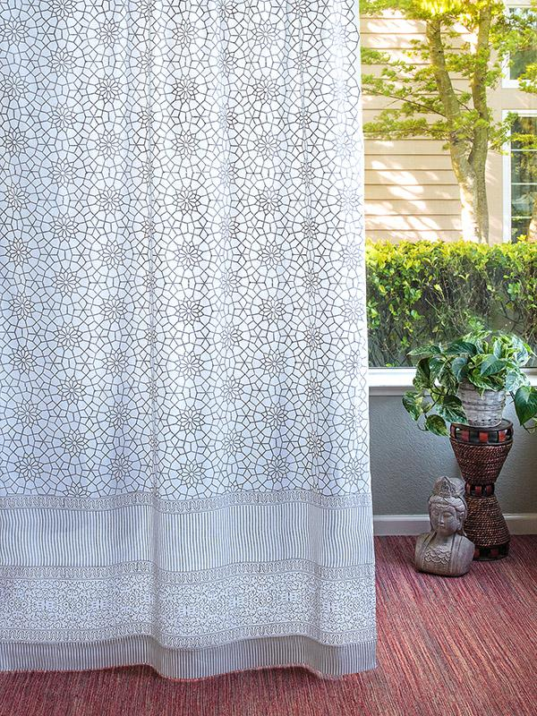 White Curtain Panel Moroccan Gray Trellis