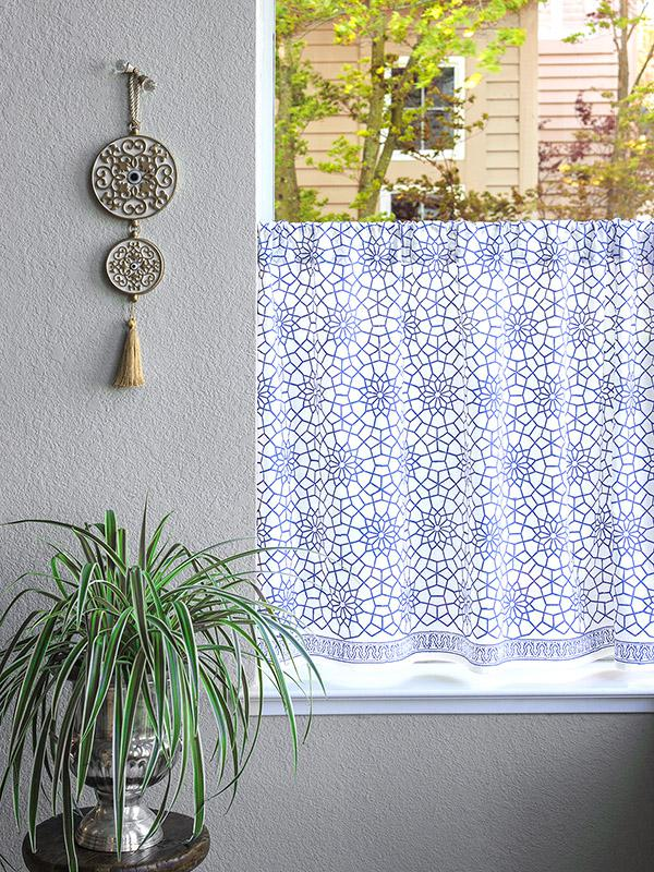 White kitchen curtain, Moroccan, Blue trellis | Saffron ...