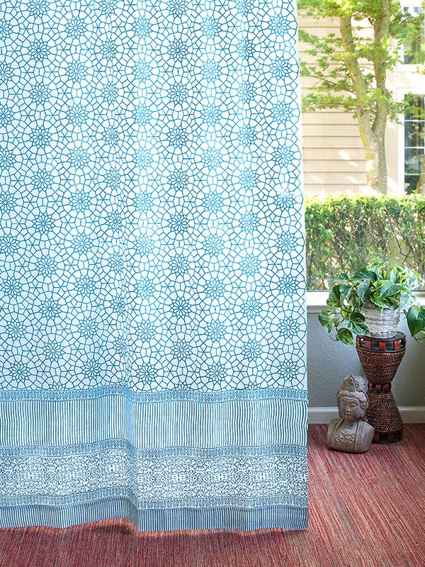 Turquoise White Curtains, Geometric Curtains, Moroccan Trellis Sheer  Curtains | Saffron Marigold