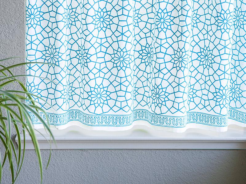 Turquoise White Kitchen Curtains, Geometric Cafe Curtain, Moroccan Curtains  | Saffron Marigold