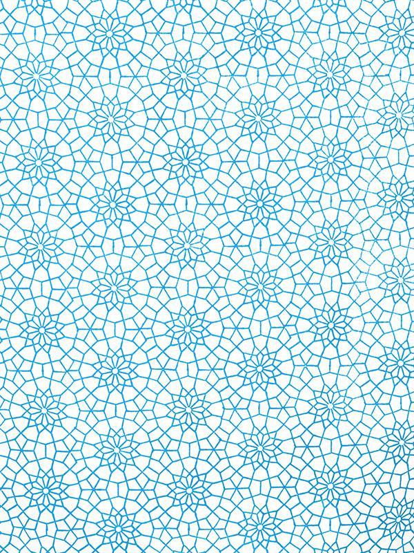 White Fabric Swatch Moroccan Blue Trellis Saffron Marigold