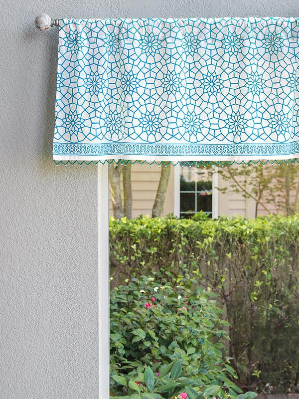 White Window Valance Moroccan Blue Trellis Saffron