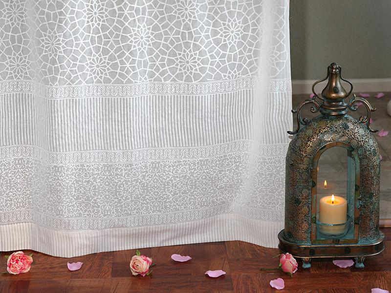 white sheer curtain panel, moroccan curtain, lattice trellis voile