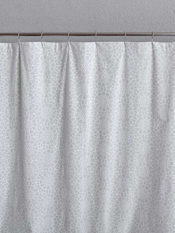 White Shower Curtain Moroccan Trellis Saffron Marigold