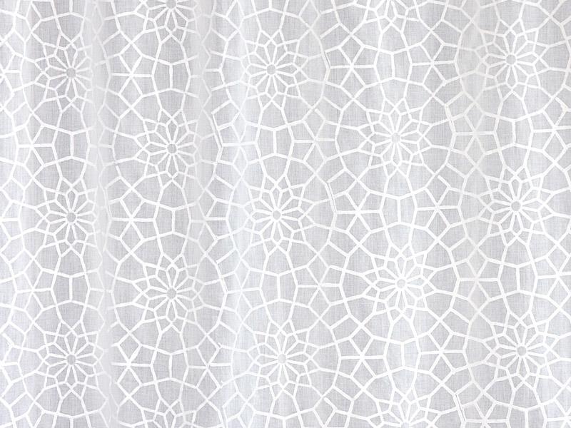 White Cafe Curtain Moroccan Trellis Print Saffron Marigold