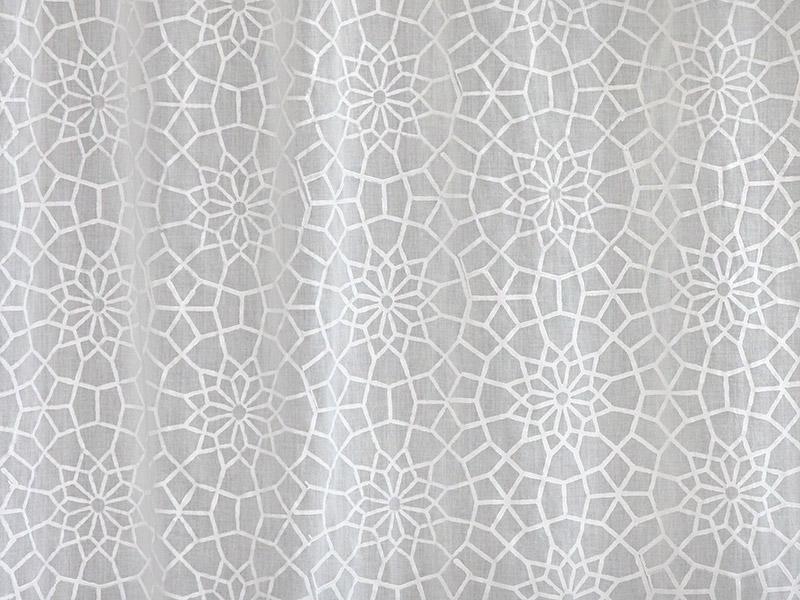 White Curtain Panel, Moroccan, Trellis