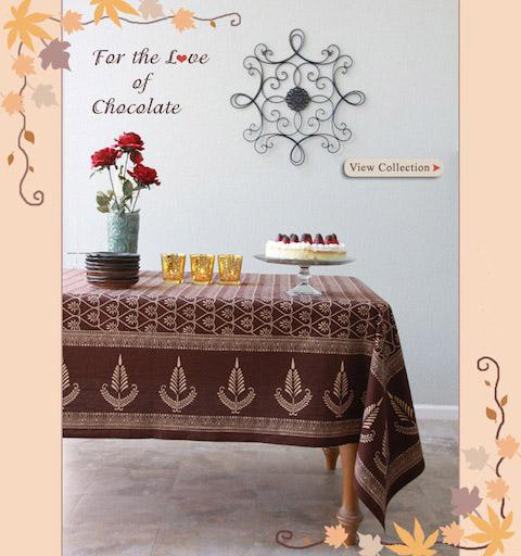 Chocolate bedding and table linens