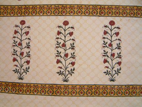 Red Poppy Ethnic Indian Print Floral Bathroom Shower Curtain