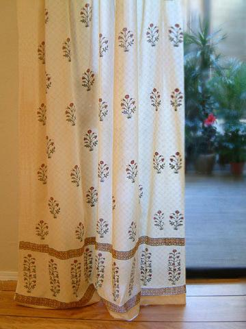 India Curtain Panel Yellow Floral