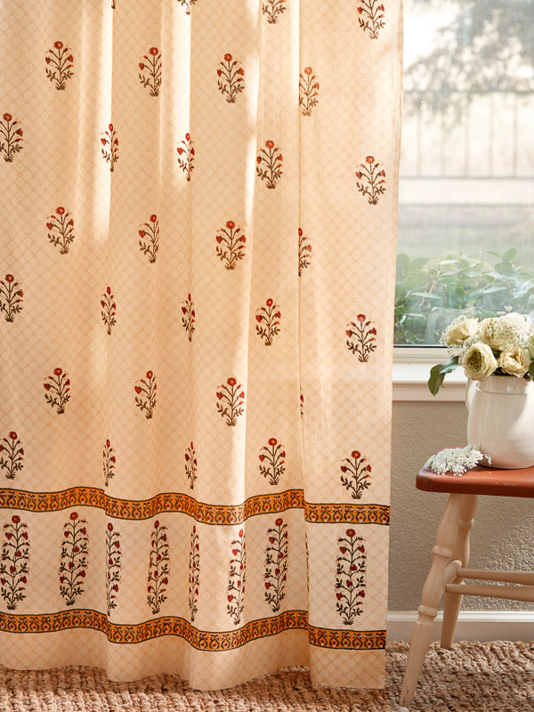 Red Floral Curtains Yellow India Poppy Saffron Marigold