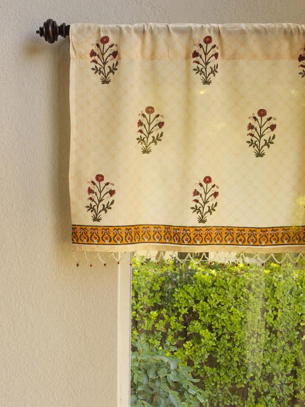 India Red Floral Sheer Beaded Window Valance Kitchen
