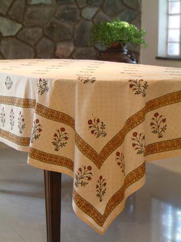 Banquet Tablecloth, Floral Tablecloth, Indian Tablecloth, Elegant Tablecloth,  Cotton Tablecloth | Saffron Marigold