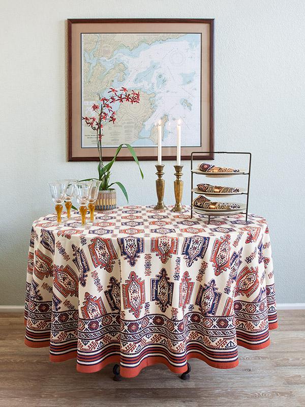 Kilim Tablecloth, Tribal Tablecloth, Orange Blue Tablecloth, Round  Tablecloth, 70 Inches, 90 Inches | Saffron Marigold