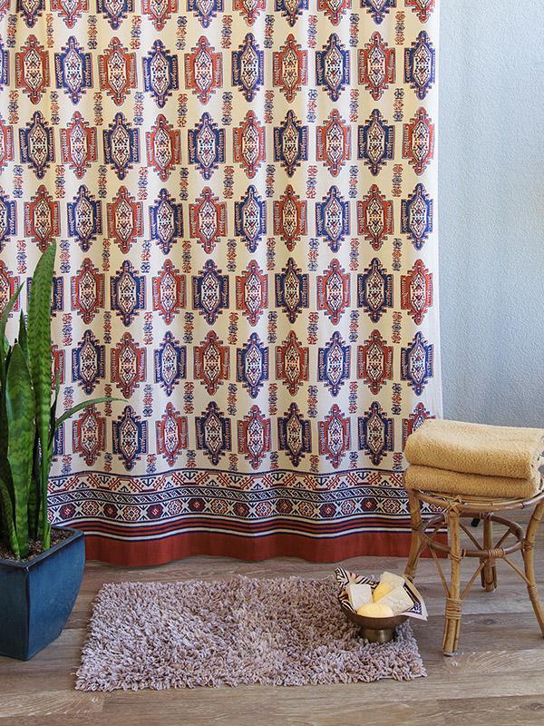 Tribal Shower Curtain Aztec Kilim Inspired Cotton