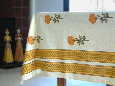 Elegant Table Linens – Tan Net Fabric Gold Beaded Fancy India Tablecloth  Overlay.