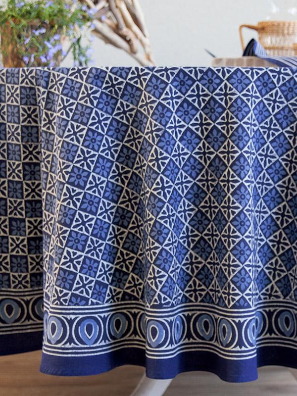 Blue Tablecloth Batik Tablecloth India Tablecloth 90