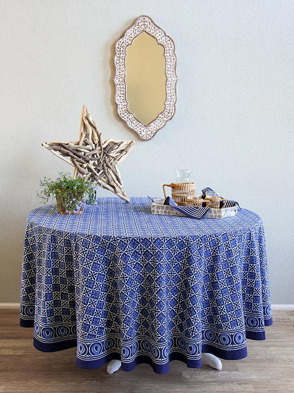 Blue Tablecloth, Batik Tablecloth, India Tablecloth, 90 Round Tablecloth,  70 Round Tablecloths   Saffron Marigold