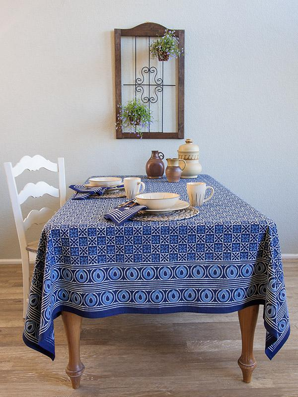 Starry Nights ~ Batik Blue Designer Block Print Tablecloth