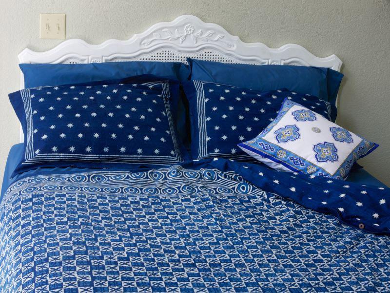 Batik Duvet Cover White Floral Indigo Blue Saffron