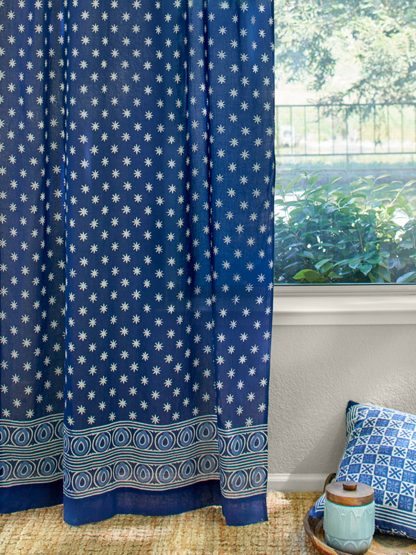 Blue Batik Curtain Indigo Blue Curtain Indian Curtains