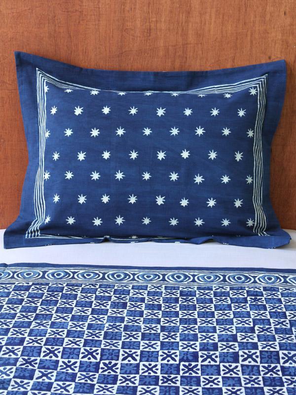 standard pillow shams. Exotic Blue Batik Indian Standard Pillow Sham Cover Flanged | Saffron Marigold Shams