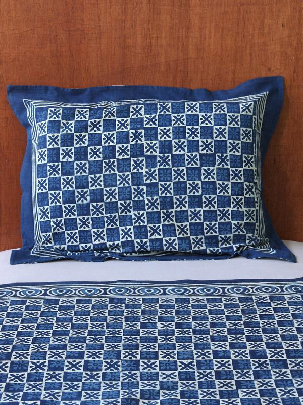 Exotic Blue Batik Indian Standard Pillow Sham Cover Flanged Saffron Marigold