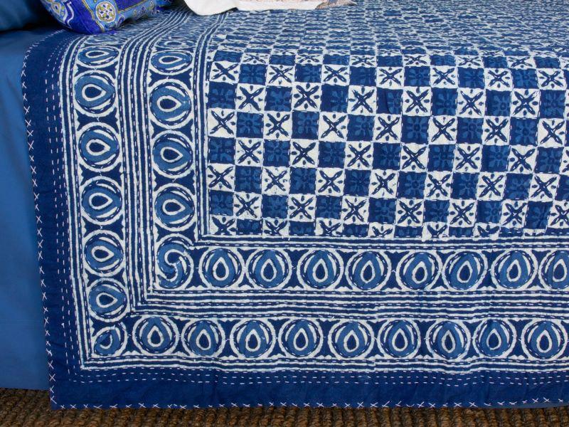 Designer India Blue Batik Quilted King Size Bedspreads