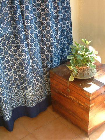 Batik Shower Curtain Blue Contemporary Curtains Fabric