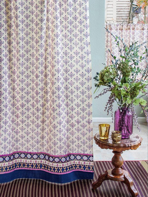 Vanilla Tan Blue Curtain Moroccan Vintage Sheer