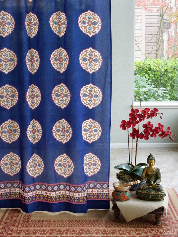 Blue Curtain Panel Moroccan Sheer Saffron Marigold