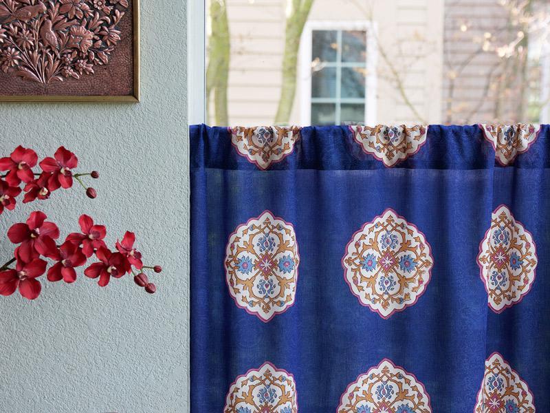 Sensational Sultans Palace Royal Blue Moroccan Medallion Kitchen Curtain Interior Design Ideas Clesiryabchikinfo