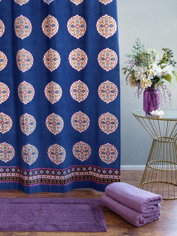 Blue Shower Curtain, Moroccan Shower Curtain, Vintage Medallion ...