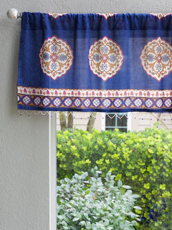 Sultans Palace Royal Blue Moroccan Medallion Window Valance