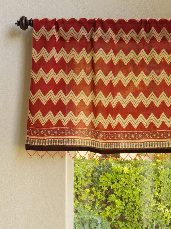 Red Orange Valance Zig Zag Tribal Print Window Beaded Treatment