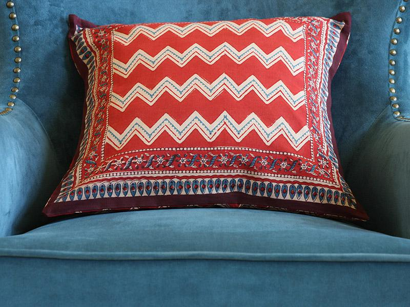 Red Orange Throw Cushion Cover Chevron Print Throw Cushion Cover Zig Zag Print Throw Cover