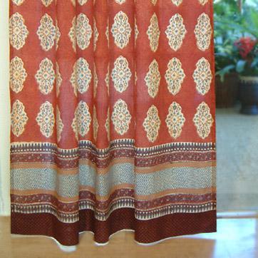 Elegant Spice Route ~ Decorative Red Orange Tab Top Curtain