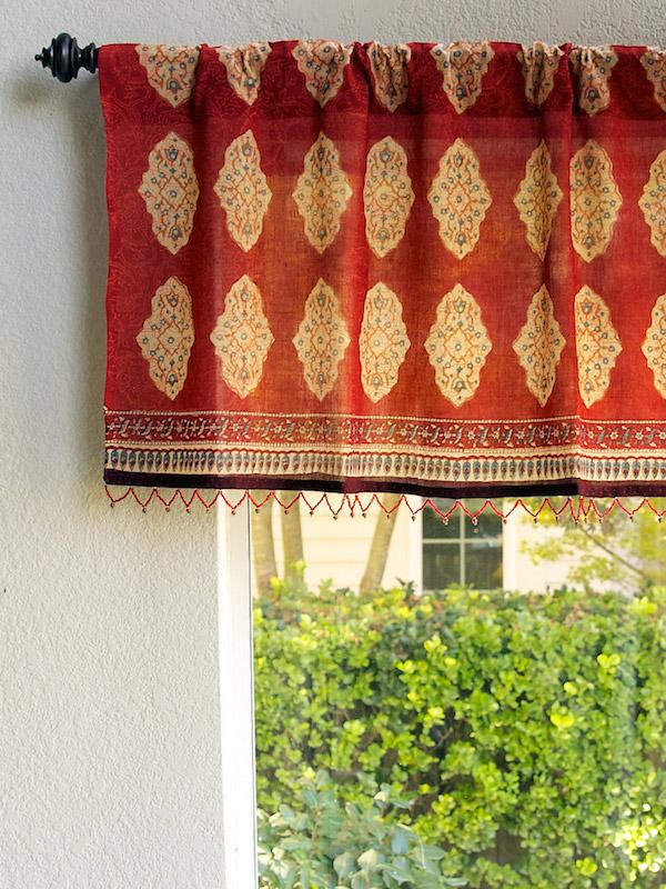Red orange window valance, Moroccan Indian beaded valance