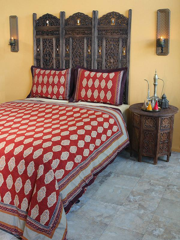 Moroccan Indian King Duvet Cover Red Orange Cotton King