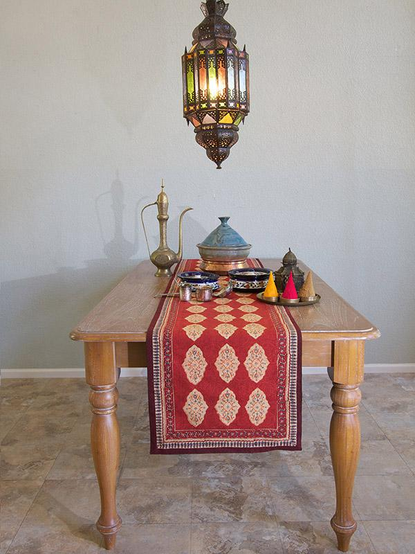 Red Orange Table Runner, Moroccan Indian Table Runner, Holiday Table Runner  | Saffron Marigold