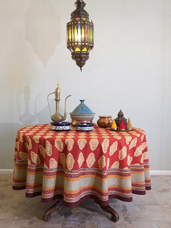 Red Orange Tablecloth, Moroccan Indian Tablecloth, Holiday Tablecloth,  Round 70in, 90in | Saffron Marigold