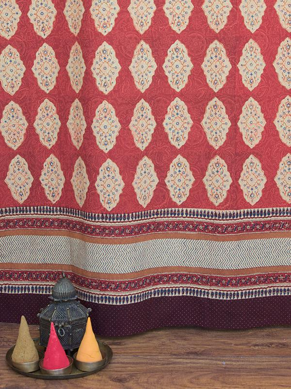 Moroccan Indian Shower Curtain Red Orange Shower Curtain Cotton
