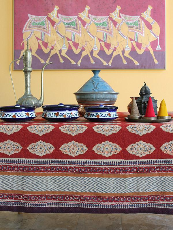Indian Kitchen Design: Red Orange Tablecloth, Moroccan Indian Tablecloth, Holiday