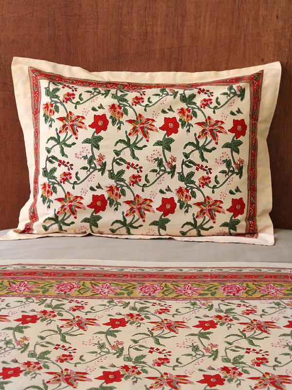 Colorful Country Tropical Red Floral Standard Pillow Sham