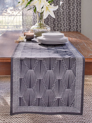 1920 ~ Charcoal Grey and White Art Deco Geometric Table Runner