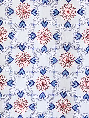 Le Chateau Tile ~ French Country White and Blue Fabric Swatch