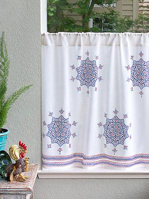 Le Chateau Medallions ~ French Country Boho Kitchen Curtain