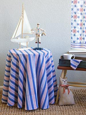Le Chateau Stripes ~ French Country Nautical Round Tablecloth